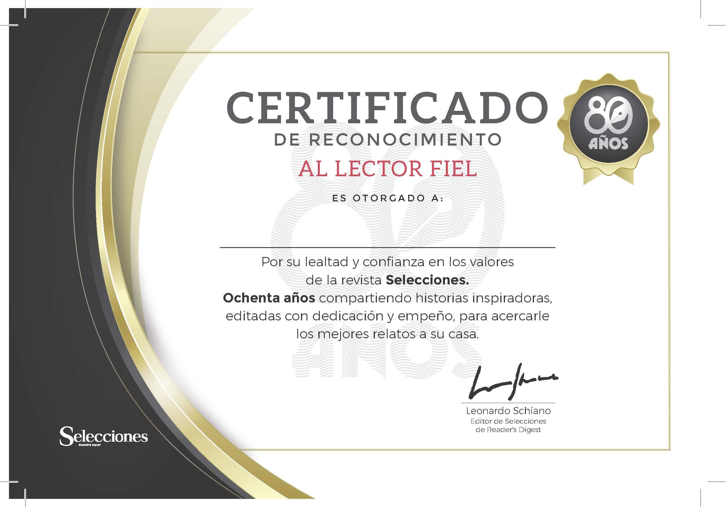 Certificado 80 Años