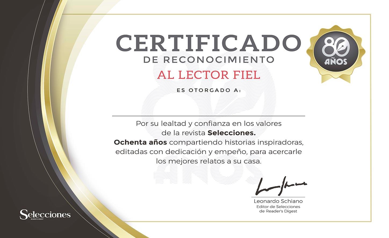 Certificado de Reconocimiento al Lector Fiel